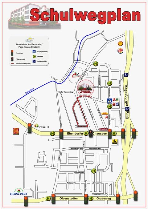 """Schulwegplan Grundschule """"Am Kannenstieg"""" in Magdeburg"""