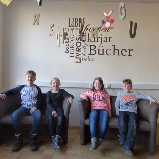 Unsere Lesekönige im Schuljahr 2017/18: Florian Riemann, Charlene Berg, Hanna Wiede, Eddie Linke (v.l.n.r)