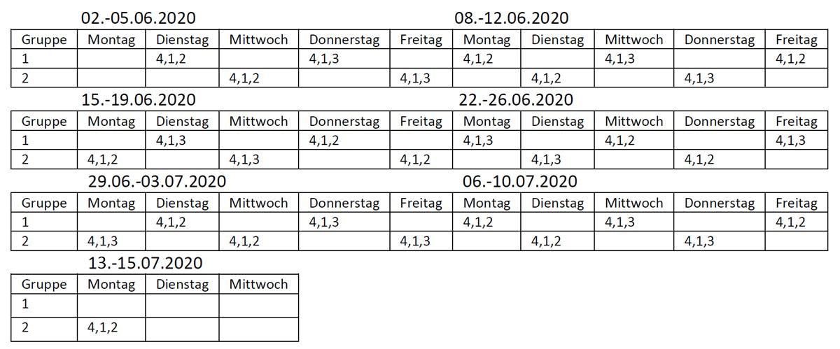 Unterrichtsgruppen Gs Kannenstieg nach Pfingsten bis Sommerferien 2020